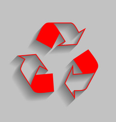 Recycle logo concept red icon with soft vector
