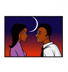 romantic gaze sunset vector image vector image
