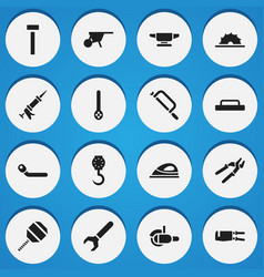 Set of 16 editable tools icons includes symbols vector