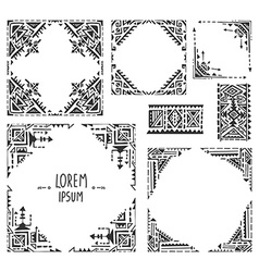 Set of five borders with tribal art boho hand vector image vector image