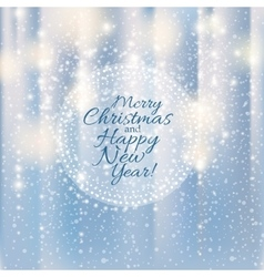 Shiny silver Merry Christmas and Happy New Year vector image vector image