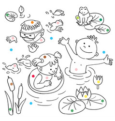 Summer vacation cute little girl in a bathing vector