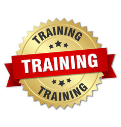 Training 3d gold badge with red ribbon vector
