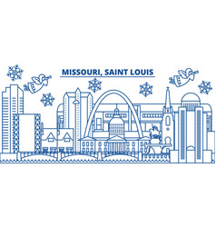 usa missouri saint louis winter city skyline vector image vector image