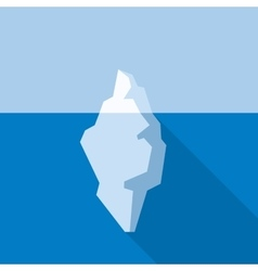 White iceberg on blue atlantic background flat vector