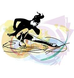 Woman ice skater skating at colorful sports arena vector