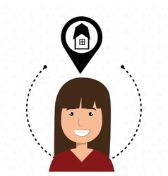 Woman house pin rent vector