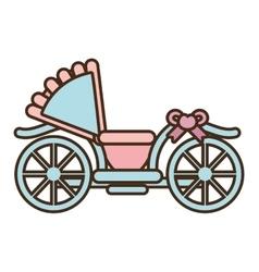 cartoon wedding carriage retro icon vector image