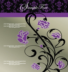 Invitation floral card with purple flowers vector