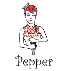 Woman with pepper shaker vector image