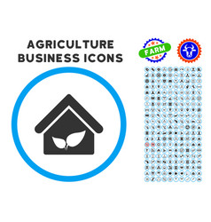 Greenhouse rounded icon with set vector