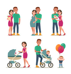 Stages of creating family love pregnancy birth vector