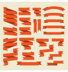 Orange ribbons set isolated on white vector