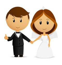 cartoon wedding couple vector image