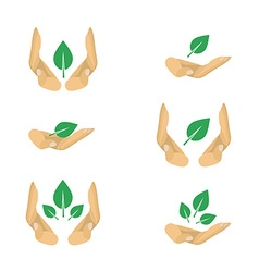 6 variants of ecology protection symbols for vector image
