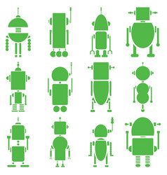 Vintage retro robots 2 plain in green vector