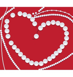 Pearls neclace of heart shape vector