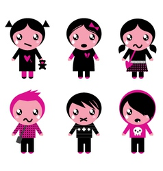 Cute emo kids vector