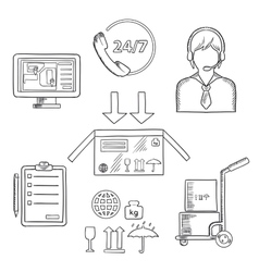 Logistics shipping and delivery icons sketches vector