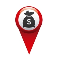 Money in pin location isolated icon design vector