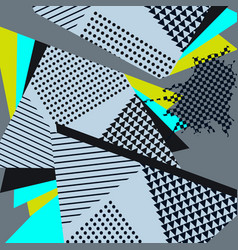 Abstract geometric collage blue pattern vector