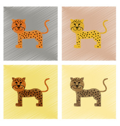 Assembly flat shading style icons cartoon leopard vector
