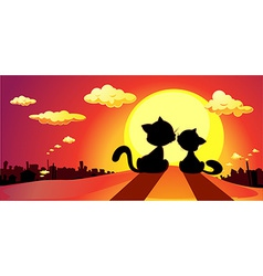 cats in love silhouette in sunset - vector image