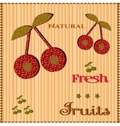 Cherries on striped background vector image vector image