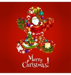 Christmas gingerbread man symbol with xmas icons vector image