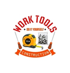 Construction work tools label vector