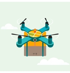 Drone quadcopter delivery product flat 3d vector