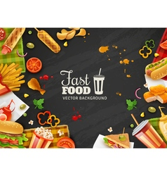 Fast Food Black Background Poster vector image vector image