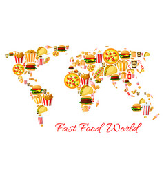 Fast food world map cartoon poster design vector