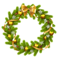 Fir wreath with golden decorations vector