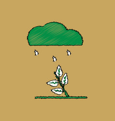 Flat shading style icon rain and bush vector