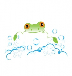 frog with bubbles vector image vector image
