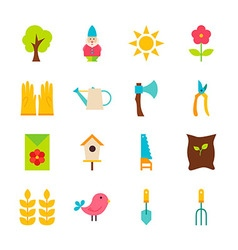 Gardening Tools Flat Objects Set isolated over vector image