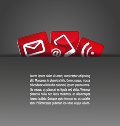 Group of icons in a pocket template grey red vector
