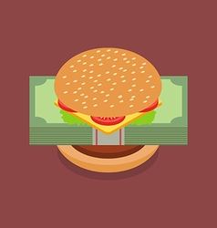 Hamburger with dollar banknotes vector