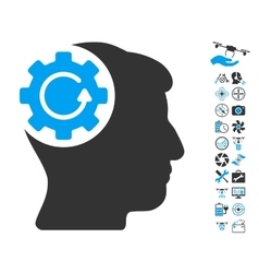 Intellect gear rotation icon with copter tools vector