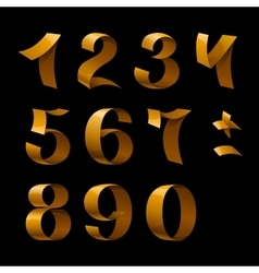 Isolated shiny golden ribbon numbers on black vector