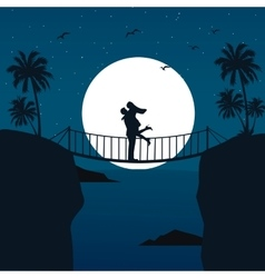 man woman couple hug silhouette with moon in the vector image vector image