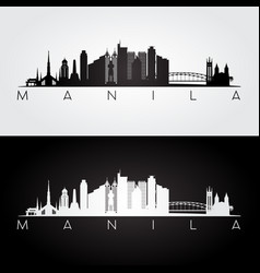 manila skyline and landmarks silhouette vector image vector image
