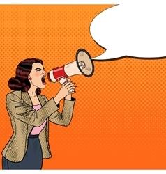 Pop Art Business Woman Shouting in Megaphone vector image