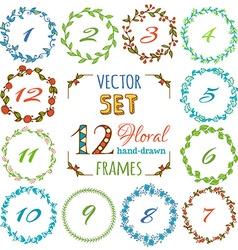 set of 12 hand-drawn floral frames vector image vector image