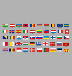 set of with european countries flags vector image