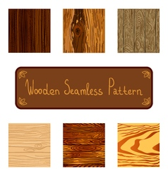 Set of wooden seamless pattern vector image vector image