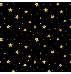 Stars seamless pattern gold black 3D retro vector image vector image