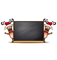 Two deer on Christmas greeting card vector image
