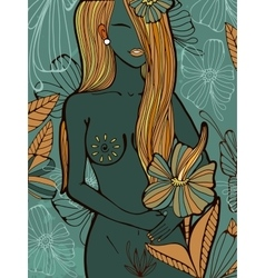 Beautiful hand drawn of a naked woman vector image